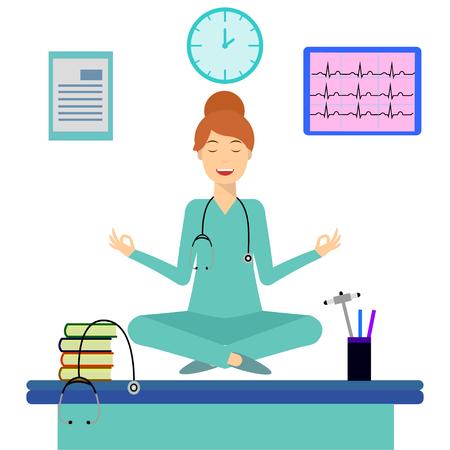 Donna di yoga meditando in posa di loto sul tavolo in sala d'ufficio. Giovane medico che fa yoga e si calma sul posto di lavoro. Relax, concetto di meditazione. Illustrazione di disegno piatto. Soluzione di ricerca, brainstorming. Vettoriali