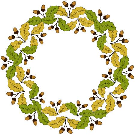 Oak leaf and acorn branch. Autumn frame. Hand drawn ink botanical illustration. Vintage fall seasonal border in sketch style. Template, mock up for label, sign, icon, banner, seasonal decor, sticker Illustration