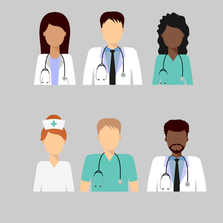 Medical characters flat people. Group of doctors and nurses avatars, staff. Medical team concept in flat design, set.