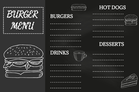 Burger menu, fast food template, doodle design. Hot dogs menu place mat, food restaurant brochure. Vintage creative template with hand-drawn graphic. Menu mock-up for cafe, flyer in sketch, retro style.