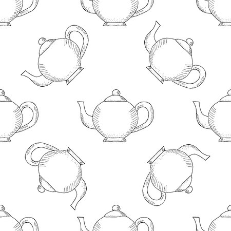 Seamless pattern with ink hand drawn vintage teapots. Doodle teapots, coffee kettles isolated on white. Sketch illustration, for cafe and restaurant menu design, wrapping, wallpaper and packaging. Illustration