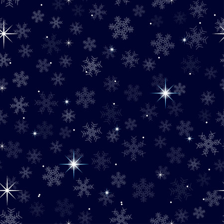 Celestial seamless background with sparkling stars glittering on dark blue sky in winter night. For wrapping, wallpaper, gift. Christmas holidays background.
