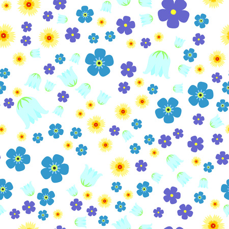 Seamless pattern with forget-me-not flowers,  lily of the valley, lilacs on white background. For print, wrapping or wallpaper. Vettoriali