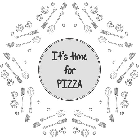 Its time for pizza. Frame from slicing ingredients for pizza: mushrooms, champignons, tomatoes, olives, sausages. Template, mock-up for menu of restaurants, cafes in sketch, doodle style.