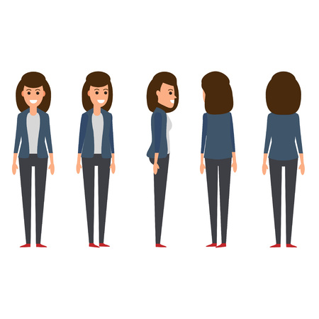 Set of businesswoman working character design illustration.