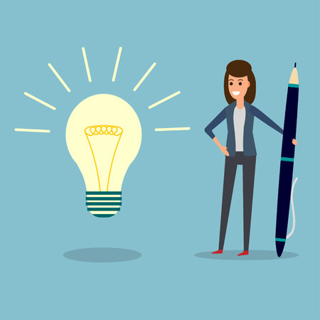 Happy businesswoman holding pen or pencil, looking at idea bulb. Planning project with office supplies. Flat design illustration. Business idea concept.