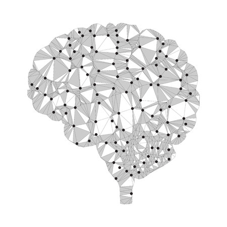 Shares of the brain, low poly polygon design with connecting dots. Polygonal triangle style illustration of human brain for medical design, study or concept for logo, scientific background, side view.