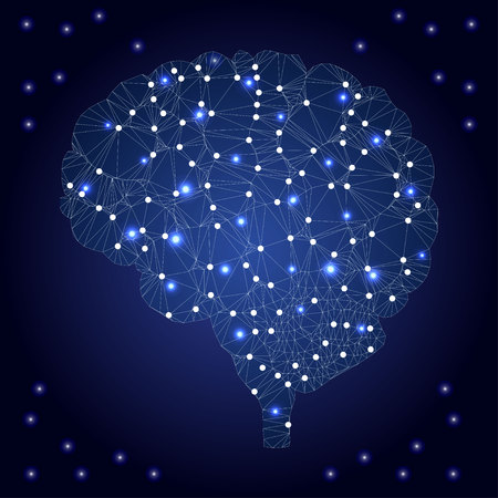 Shares of the brain, low poly polygon design with connecting dots. Polygonal triangle style illustration of human brain for medical design, study or concept for logo, scientific background, side view