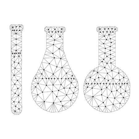 Polygonal chemistry glassware, test tubes isolated from polygon wireframe on white background. Low poly design for science and analyses. Abstract polygonal image mash line and point. Digital graphics Stock Illustratie