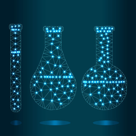 Polygonal chemistry glassware, test tubes isolated from polygon wireframe on blue background. Low poly design for science and analyses. Abstract polygonal image mash line and point. Digital graphics