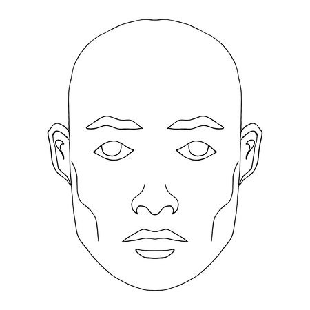 Man face hand-drawn fashion model. Clip art of young man with blank expression looking at camera. Easy editable illustration. Isolated on white background.  イラスト・ベクター素材
