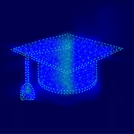 Polygonal graduation cap with mash line and point, isolated on blue sky background. Business, education concept. Low poly design. Thin line dot wireframe polygon concept.