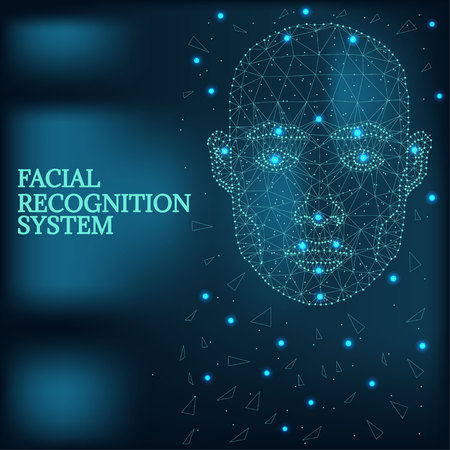Biometric identification, man face blue Illustration