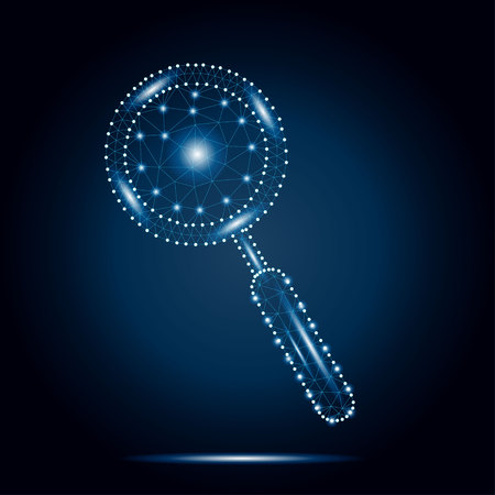 Polygonal magnifying glass, blue, stars