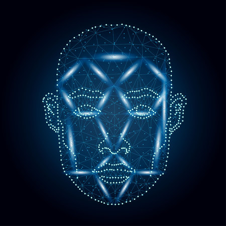 Biometric identification, man face blue. Illustration