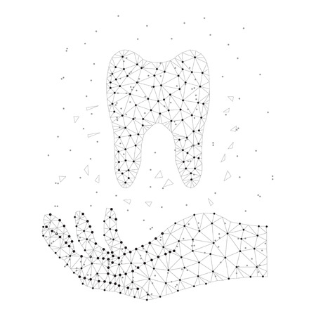 Tooth, human hand black-white Illustration