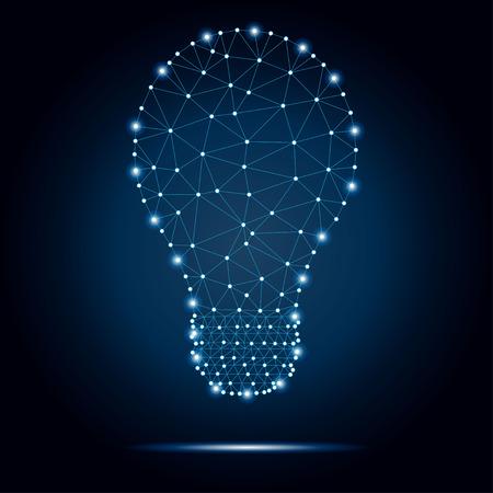 Lightbulb polygon, dots, blue, stars 2-2