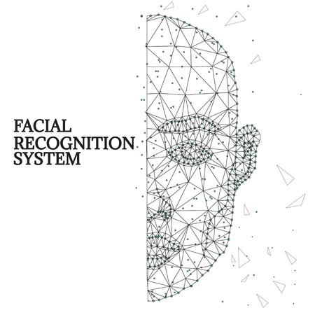 Facial Biometric identification outline illustration
