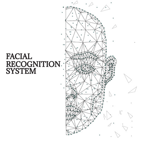 Facial Biometric identification outline illustration