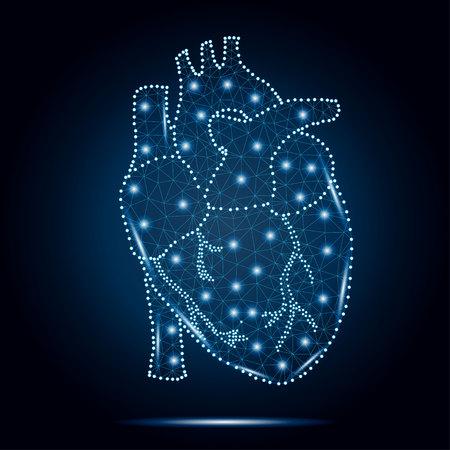 human heart polygon blue stars 3 Illustration