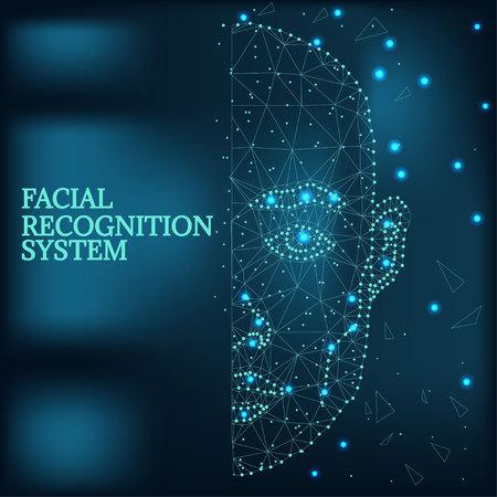Biometrische identificatie, mangezicht blauw 1-2 Stockfoto - 95741855