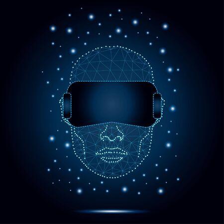 Wielokątny mężczyzna ze słuchawkami VR.