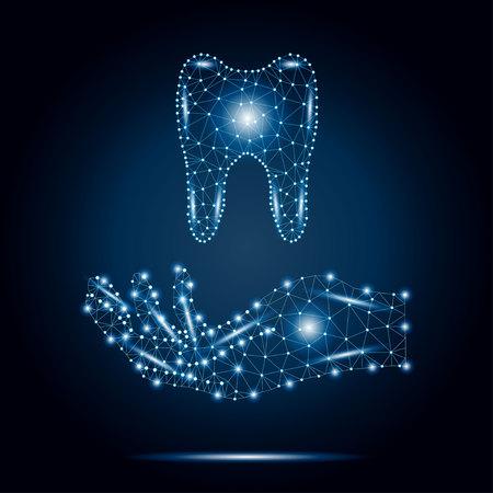 多角形の歯、人間の手、青、星2-3。