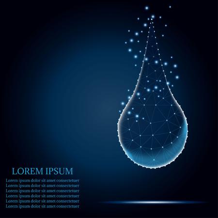 Polygonal water or collagen on blue mesh. Illustration