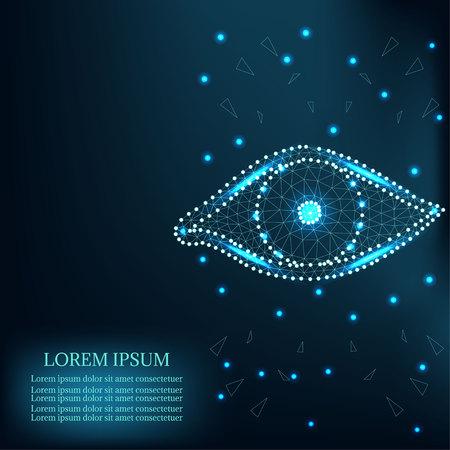 Eye polygon shape with green stars Illustration
