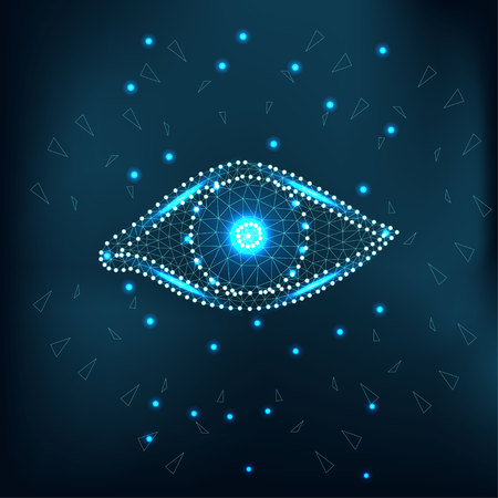Eye polygon with green stars.