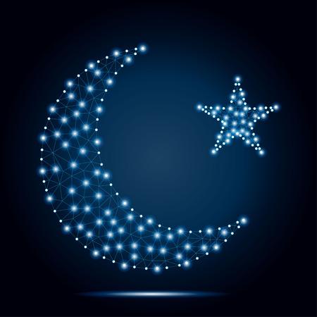 Polygonal crescent moon, star blue stars. Иллюстрация