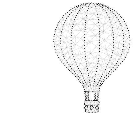 Hot air balloon, polygon, black-white