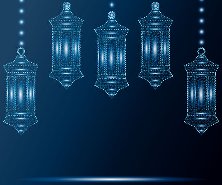 Ramadan Kareem greetings with set of lanterns or fanous in blue background. Polygonal wireframe low poly design. Abstract vector illustration with polygon, line, connecting dots. Illustration