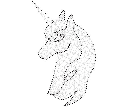 unicorn head polygon black-white Stok Fotoğraf - 100504350