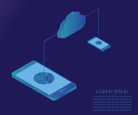 Cloud storage, data transfers on internet from smartphone to tablet. Digital gadget, isolated on blue gradient background. Isometric flat design. Vector illustration.