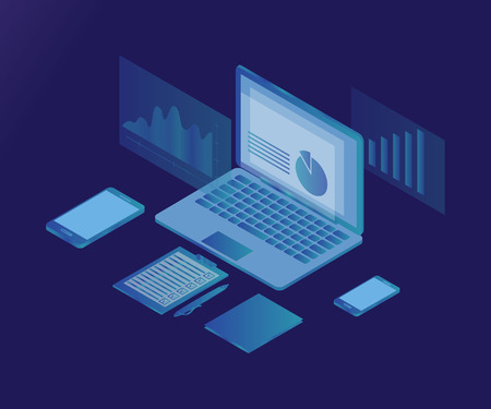 Business analysis or review flat illustration with laptop and abstract infographic elements with phone, pen, checklist on blue background. 3d isometric flat design. Analysis data and Investment. Stockfoto - 121826595