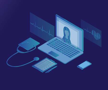 3D Isometric telemedicine flat illustration concept, isolated on light gradient background. Online medical consultation and support, illustration of medical service.