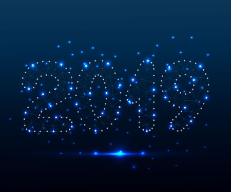 Modern futuristic template for new year 2019. Stardust trail effect. Business wireframe technology concept. Polygonal low poly design. Abstract vector illustration with polygon, line, connecting dots