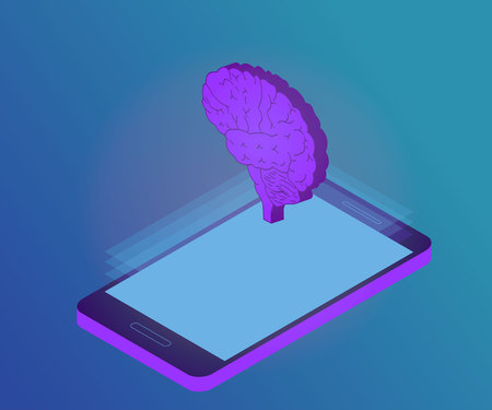 3D Isometric artificial intelligence business or medicine concept. Telemedicine flat illustration. Human brain, side view, on tablet or smartphone screen. Stockfoto - 117104308