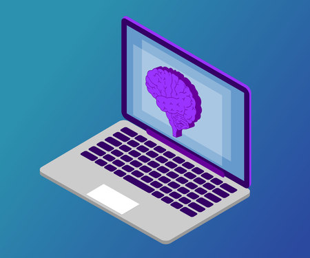 3D Isometric artificial intelligence business or medicine concept. Telemedicine flat illustration. Human brain, side view, on laptop screen.