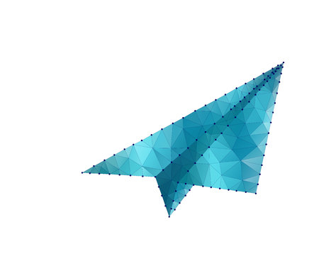 Paper airplane. Stardust trail effect. Travel, freedom and aviation background. Polygonal low poly design. Wireframe polygon concept. Abstract vector illustration with polygon, line, connecting dots