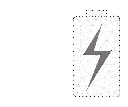 Battery charging icon. Stardust trail effect. Polygonal low poly design. Wireframe polygon concept. Abstract vector illustration with polygon, line, connecting dots.
