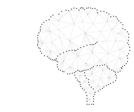 Shares of the brain, low poly polygon design with connecting dots. Polygonal triangle wireframe style illustration of human brain for medical design, concept for logo, scientific background, side view Illustration
