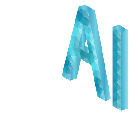 AI Letter Artificial Intelligence , 3D Isometric. Polygonal low poly design. Wireframe polygon concept. Abstract vector illustration with polygon, line, connecting dots, origami. Stockfoto - 117104392
