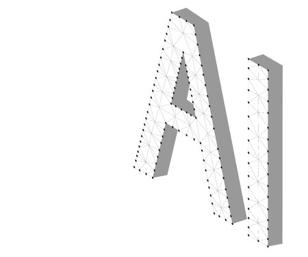 AI Letter Artificial Intelligence , 3D Isometric. Polygonal low poly design. Wireframe polygon concept. Abstract vector illustration with polygon, line, connecting dots, origami.