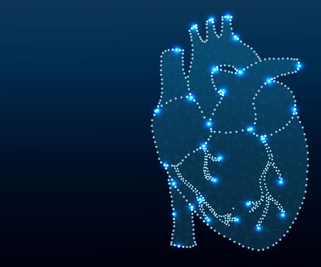 human heart polygon blue-new 1-3 Ilustracja