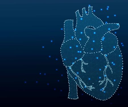 human heart polygon blue