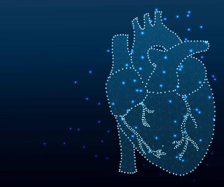 human heart polygon blue Stockfoto - 130396084