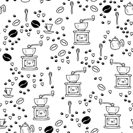 Hand drawn coffee set sketch illustration. Menu design for cafe, restaurant, coffee shop, doodle style. Seamless pattern. Repeated texture for wrapping paper.