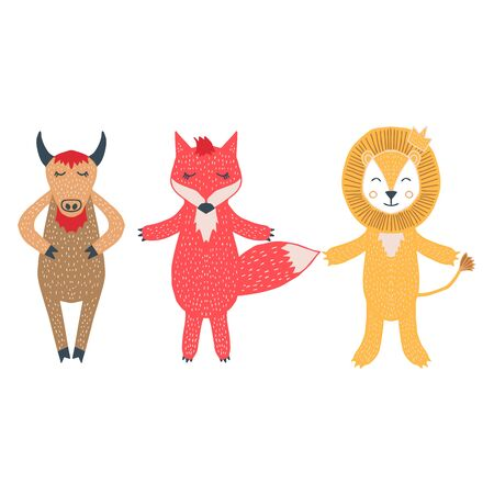 Cute bull, fox, lion childish vector illustration set, isolated on white background. Sketchy hand drawn set. Doodle vector, scandinavian design, for designing baby clothes. Иллюстрация